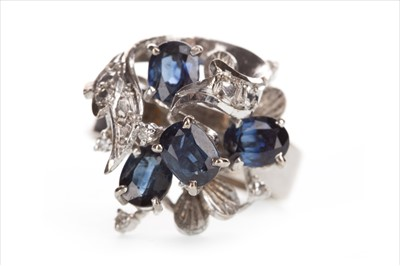 Lot 327-A BLUE GEM AND DIAMOND COCKTAIL RING