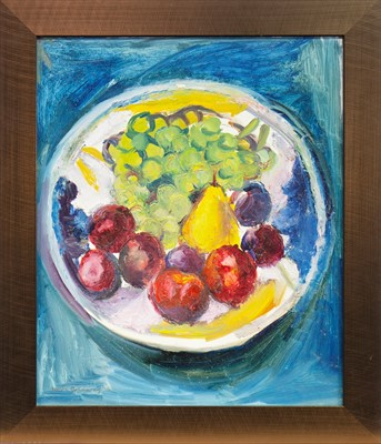 Lot 543-STILL LIFE WITH APPLES AND PEARS, AN OIL BY HILDA GOLDWAG