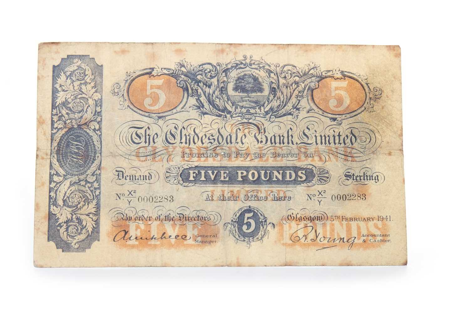 Lot 10-A CLYDESDALE BANK LIMITED £5 NOTE DATED 1941