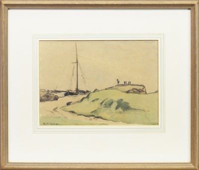 Lot 6-COASTAL SCENE WITH YACHT AND ANGLER, A WATERCOLOUR BY E A TAYLOR