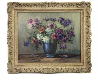 Lot 9-CHRYSANTHEMUMS,  AN OIL BY RAOUL MARTINEZ