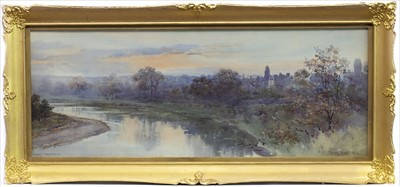 Lot 10-COLDSTREAM FROM THE RIVER TWEED, A WATERCOLOUR BY FRANK WATSON WOOD
