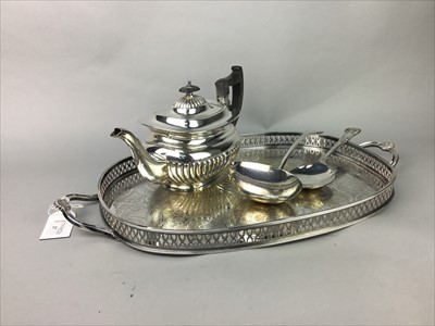 Lot 27-A SILVER PLATED TEA TRAY ALONG WITH OTHER PLATE