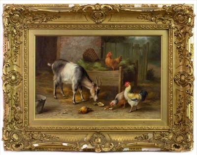 Lot 14-CHICKENS WITH GOATS, AN OIL BY EDGAR HUNT