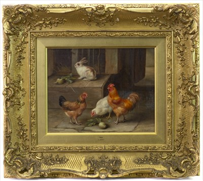 Lot 25-CHICKENS WITH RABBITS, AN OIL BY EDGAR HUNT
