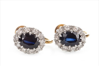 Lot 1306-A PAIR OF BLUE GEM AND DIAMOND EARRINGS