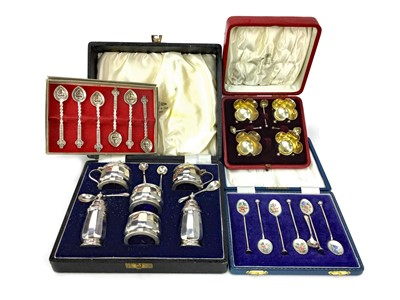 Lot 402-A SILVER CRUET SET ALONG WITH A SALT SET AND TWO CASED SET OF SPOONS