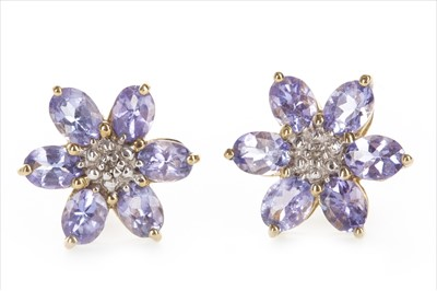 Lot 1313-A PAIR OF TANZANITE AND DIAMOND EARRINGS