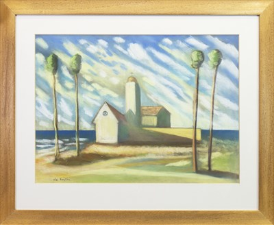 Lot 505-CHURCH IN SUNLIGHT, A PASTEL BY ALLY THOMPSON
