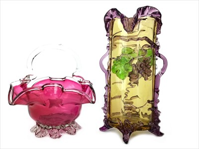 Lot 1219-A VICTORIAN CRANBERRY BASKET AND A CONTINENTAL VASE