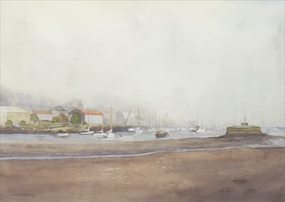 Lot 404-SEA MIST, TARBERT, A WATERCOLOUR BY STEPHEN BOSHELL