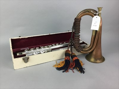 Lot 22-A COPPER AND BRASS BUGLE, FLUTE, SHEET MUSIC AND A METRONOME