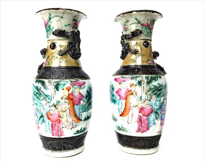 Lot 992-A PAIR EARLY 20TH CENTURY CHINESE CRACKLE GLAZE VASES