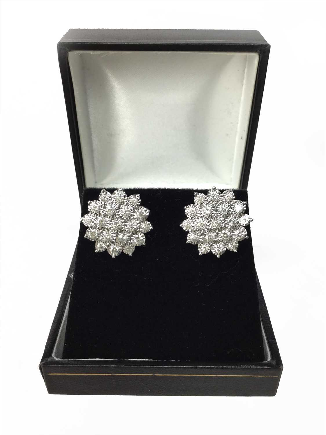 Lot 318-A PAIR OF DIAMOND CLUSTER EARRINGS