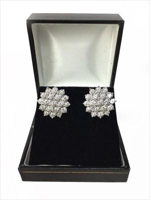 Lot 318-A PAIR OF DIAMOND CLUSTER EARRINGS