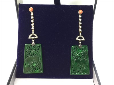 Lot 319-A PAIR OF JADE, CORAL AND DIAMOND EARRINGS