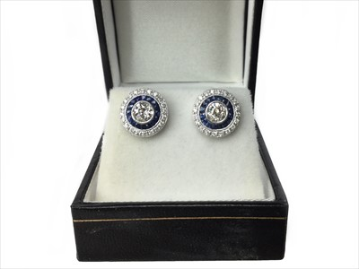 Lot 329-A PAIR OF SAPPHIRE AND DIAMOND EARRINGS