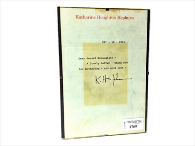 Lot 1769-AN AUTOGRAPHED LETTER FROM KATHARINE HOUGHTON HEPBURN