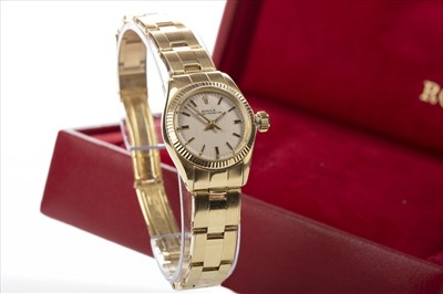 Lot 856-A LADY'S ROLEX OYSTER PERPETUAL EIGHTEEN CARAT GOLD AUTOMATIC WRIST WATCH GOLD WATCH