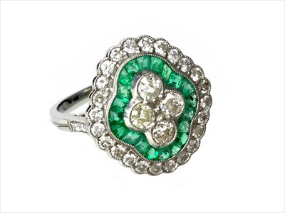 Lot 342-AN EMERALD AND DIAMOND RING