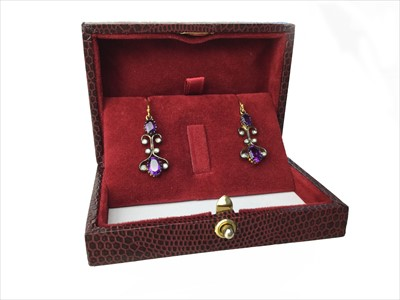 Lot 343-A PAIR OF AMETHYST AND DIAMOND EARRINGS