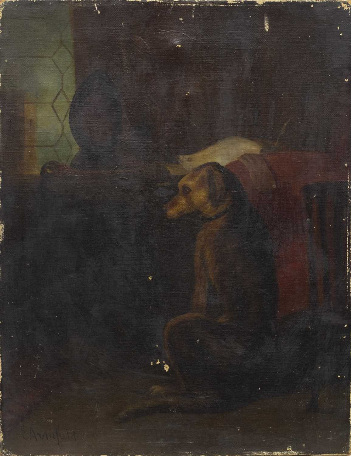 Lot 406-DOG IN INTERIOR, AN OIL BY EDWARD ARMFIELD