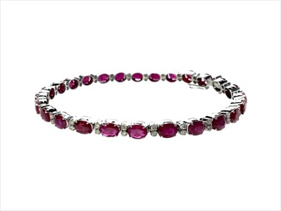Lot 1315A-A RUBY AND DIAMOND BRACELET