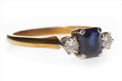 Lot 321-A BLUE GEM AND DIAMOND RING