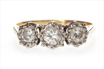 Lot 1305-A DIAMOND THREE STONE RING