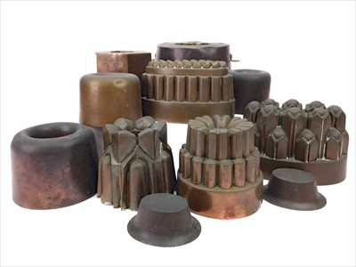 Lot 1307-A LOT OF THIRTEEN VICTORIAN COPPER JELLY MOULDS