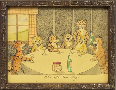 Lot 20-AN AFTER DINNER STORY, A WATERCOLOUR BY LOUIS WAIN