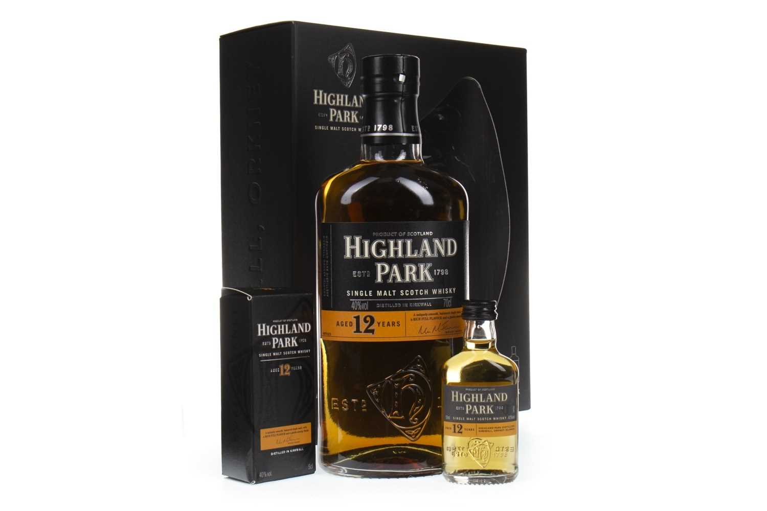 Lot 306-HIGHLAND PARK AGED 12 YEARS 70CL GIFT BOX AND 5CL MINIATURE