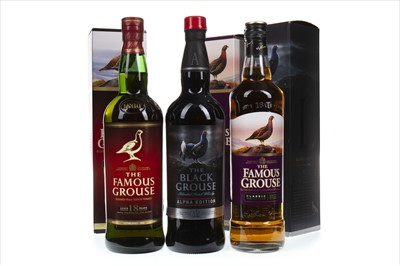 Lot 402 - FAMOUS GROUSE CLASSIC, AGED 18 YEARS AND THE BLACK GROUSE ALPHA EDITION