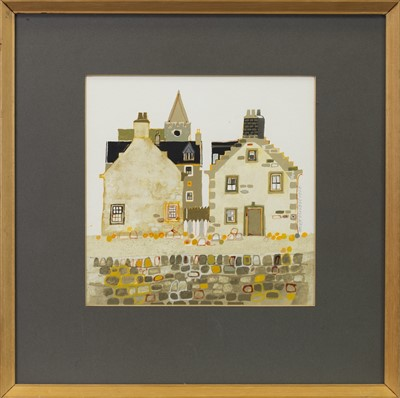 Lot 429-BEHIND THE COBBLED WALL, A MIXED MEDIA BY GEORGE BIRRELL