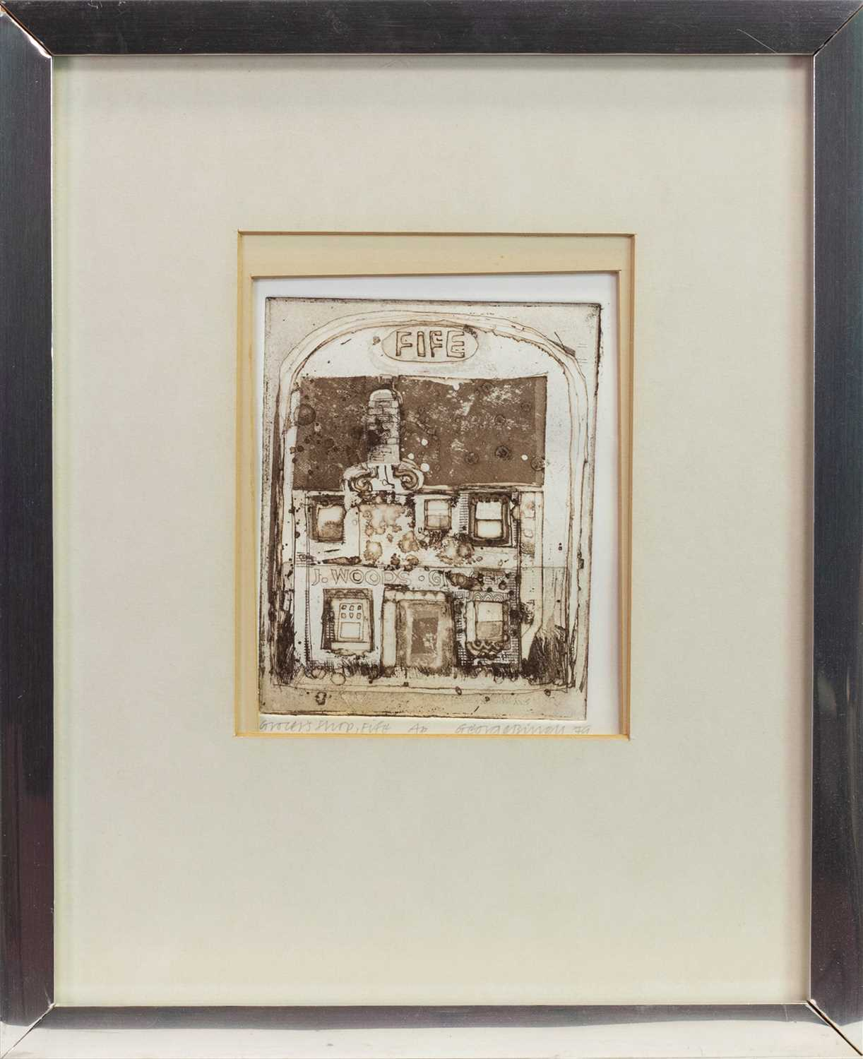 Lot 408-GROCER'S SHOP, FIFE, AN ETCHING BY GEORGE BIRRELL