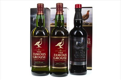 Lot 403-TWO BOTTLES OF FAMOUS GROUSE AGED 18 YEARS AND ONE BLACK GROUSE ALPHA EDITION