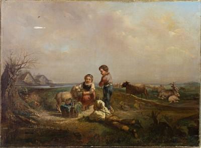 Lot 24-CHILDREN IN A RURAL SETTING, AN OIL