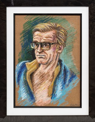 Lot 630-AN EARLY PASTEL STUDY OF A MAN, BY PETER HOWSON