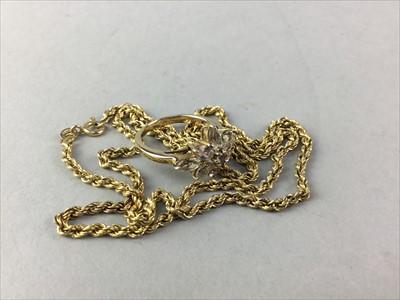 Lot 7-A NINE CARAT GOLD PASTE SET RING AND A NECKLET