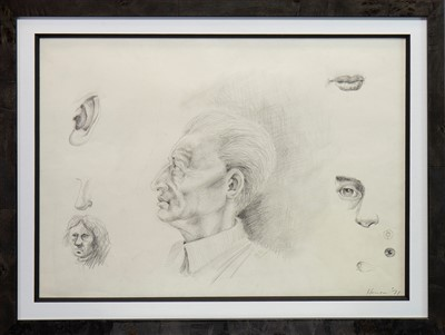 Lot 634-VARIOUS EARLY STUDIES IN PENCIL, BY PETER HOWSON