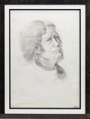 Lot 674-AN EARLY PENCIL SKETCH OF A MAN BY PETER HOWSON