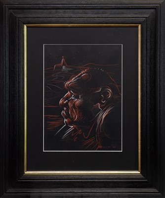 Lot 608-RED SKY, A PASTEL BY PETER HOWSON