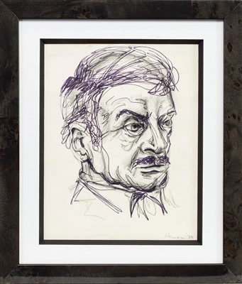 Lot 680-AN EARLY SKETCH OF A MAN'S HEAD BY PETER HOWSON