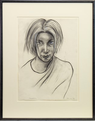 Lot 610-MAUREEN, A CHARCOAL SKETCH BY PETER HOWSON