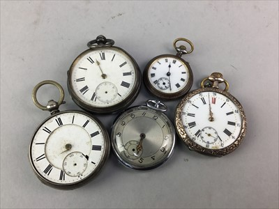 Lot 2-A LOT OF FIVE SILVER CASED AND OTHER POCKET WATCHES