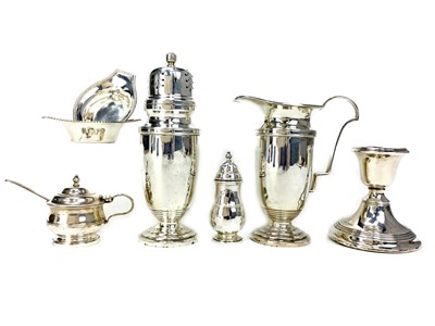 Lot 417-A SILVER SUGAR CASTER, A CREAMER, TWO SALTS, PEPPERETTE, MUSTARD POT, AND CANDLESTICK