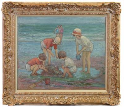 Lot 34-CHILDREN AT SEASIDE, AN OIL BY ALFRED JOHN BILLINGHURST