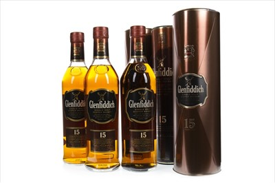 Lot 326-THREE BOTTLES OF GLENFIDDICH 15 YEARS OLD
