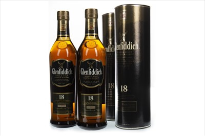 Lot 328-TWO BOTTLES OF GLENFIDDICH 18 YEARS OLD