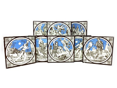 Lot 1006-A SET OF EIGHT TILES BY JOHN MOYR SMITH FOR MINTON